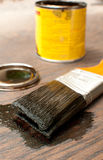 Brush for painting wood in dark Stock Photography