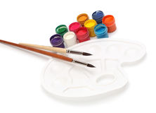 Brush, palette and colors Royalty Free Stock Images