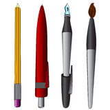 Brush pen ballpoint pencil colored collection vector Royalty Free Stock Photography