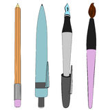 Brush pen ballpoint pencil sketch collection vector Stock Photo