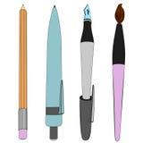 Brush pen ballpoint pencil sketch collection vector Stock Photo
