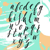 Brush pen hand lettered english alphabet Stock Images