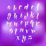 Brush pen hand lettered english alphabet Royalty Free Stock Photo