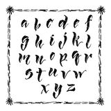 Brush pen hand lettered english alphabet Royalty Free Stock Photos