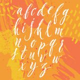 Brush pen hand lettered english alphabet Royalty Free Stock Image