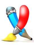 Brush and pencil. Cartoon 3D. Royalty Free Stock Images