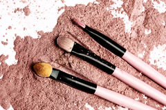 Brush on pink powder Stock Photos