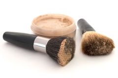 Brush and powder isolated white Royalty Free Stock Image