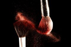 Brush and a powder spread out Royalty Free Stock Image