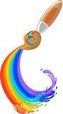 Brush and rainbow vector illustration