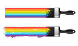 Brush with rainbow line Stock Image
