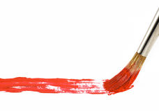 Brush with red paint Royalty Free Stock Photography