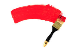 Brush and red paint Royalty Free Stock Image