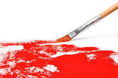Brush with red paint Royalty Free Stock Photo