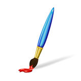 Brush with red paint Royalty Free Stock Photos