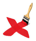Brush with red paint strokes cross Stock Photography