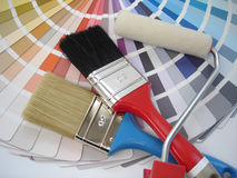 Brush and roller Stock Image
