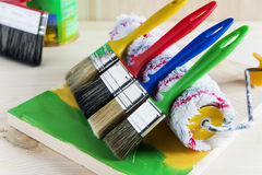 Brush and roller for painting Royalty Free Stock Image