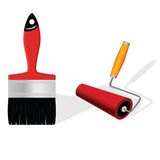 Brush and roller vector illustration Stock Photos