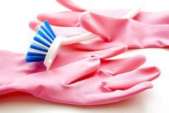 Brush with rubber glove Royalty Free Stock Photo