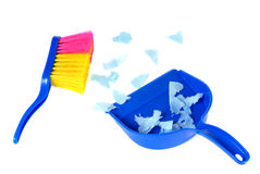 Brush and scoope with garbage isolated Stock Photo