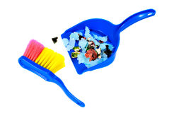 Brush and scoope with garbage isolated Stock Photography