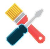 Brush and screwdriver Royalty Free Stock Photography