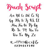 Brush script with lowercase and uppercase letters stock illustration