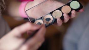 Brush and set makeup eyeshadow stock footage