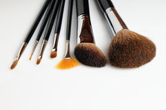 Brush set makeup front view. With white background Stock Image