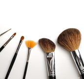 Brush set makeup top view. With white background Stock Photos