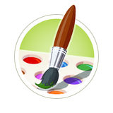 Brush and set of paint Royalty Free Stock Images