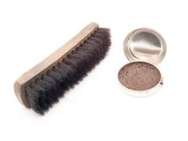 Brush and shoe polish cream Stock Photos