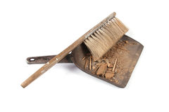 Brush and shovel with dust Stock Photo