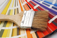 Brush size. Painting brush placed on the color chart stock photo