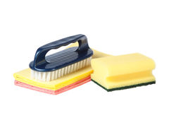 Brush and sponge rags. Stock Photography