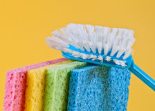 Brush and sponges. For cleaning Royalty Free Stock Photos