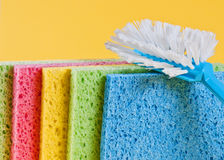 Brush and sponges for cleaning. Brush and sponges for dish washing Stock Photography