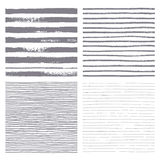 Brush stripes vector seamless pattern. Set of thin and thick lines. Stock Photography