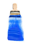 Paint Brush with Blue Paint Stroke Royalty Free Stock Image