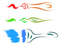 Brush and stroke. Colorful brush and stroke set Stock Image