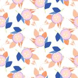 Brush stroke flowers pink and blue floral feminine pattern seamless vector. Flat colored flowers for print on fabric or wallpaper Stock Photos