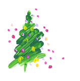 Brush stroke green Christmas tree. Oil paint hand drawn illustration of new year decorative fir tree Royalty Free Stock Image
