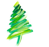 Brush stroke green Christmas tree. Oil paint hand drawn illustration of new year decorative fir tree Stock Images