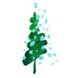 Brush stroke green Christmas tree. Oil paint hand drawn illustration of new year decorative fir tree Stock Photos