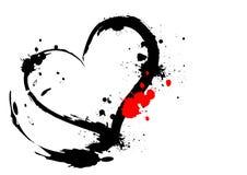 Brush stroke heart. In white background Stock Photos