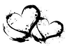 Brush stroke hearts. In white background Stock Photo