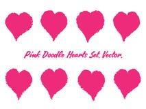 Brush Stroke Hearts Set vector illustration