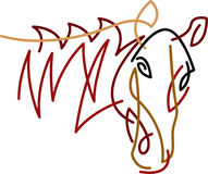 Brush stroke horse head abstract. Horse head brush stroke drawing image with isolated white background Stock Photography
