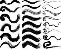 Brush stroke illustrations. hand drawn curve shapes. Royalty Free Stock Photo